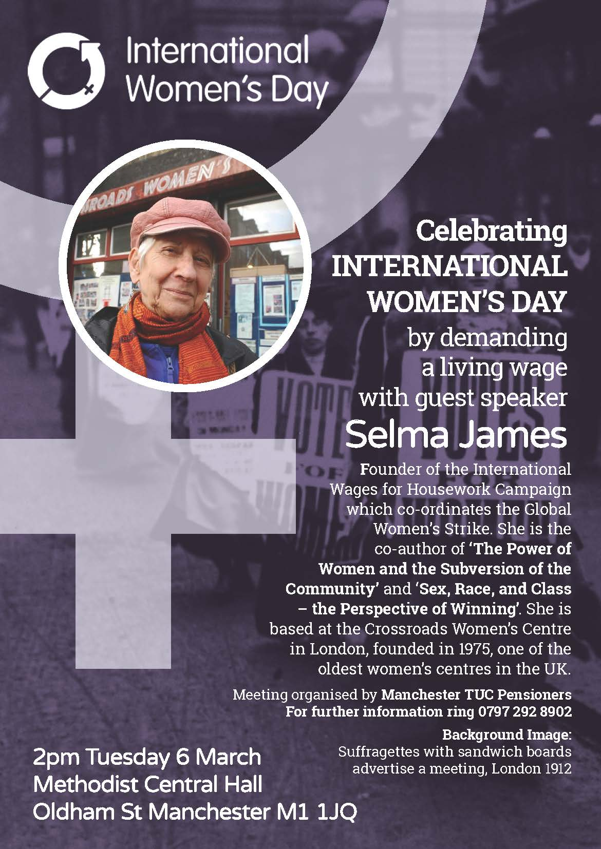 Celebrating International Womens Day meeting Manchester TUC Pensioners Tuesday 6 March 2018 Methodist Central Hall